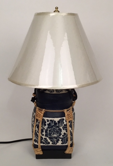 lamp rice pot blauw wit klein 50827