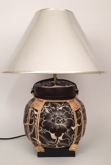 lamp rice pot donkerbruin wit bollamp 90007