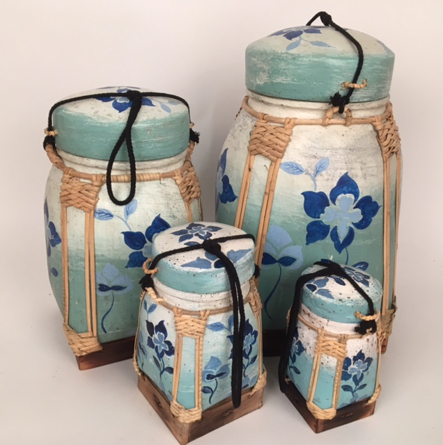 rice pot aqua bloemen 50737