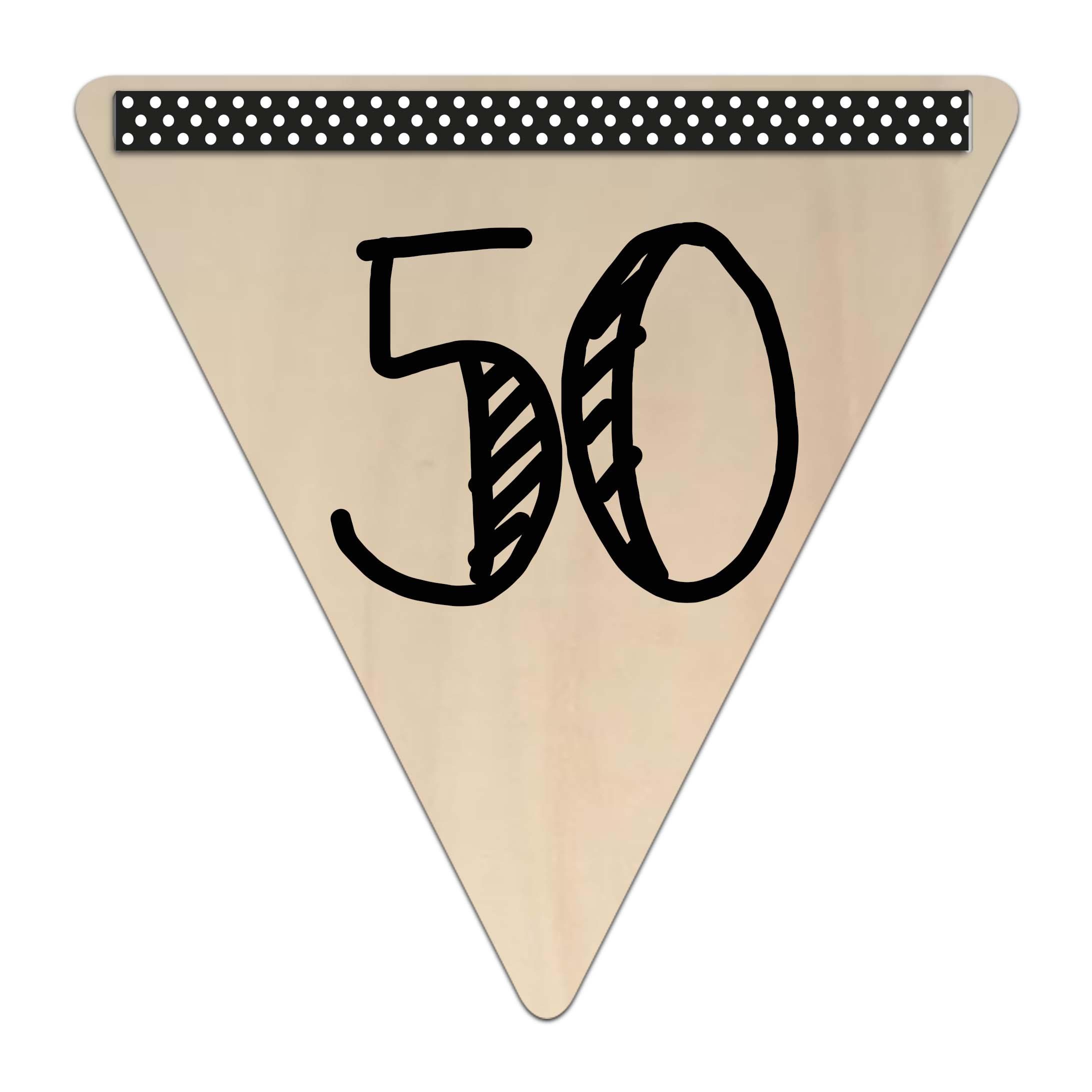 Houten vlaggetje kroonjaar 50