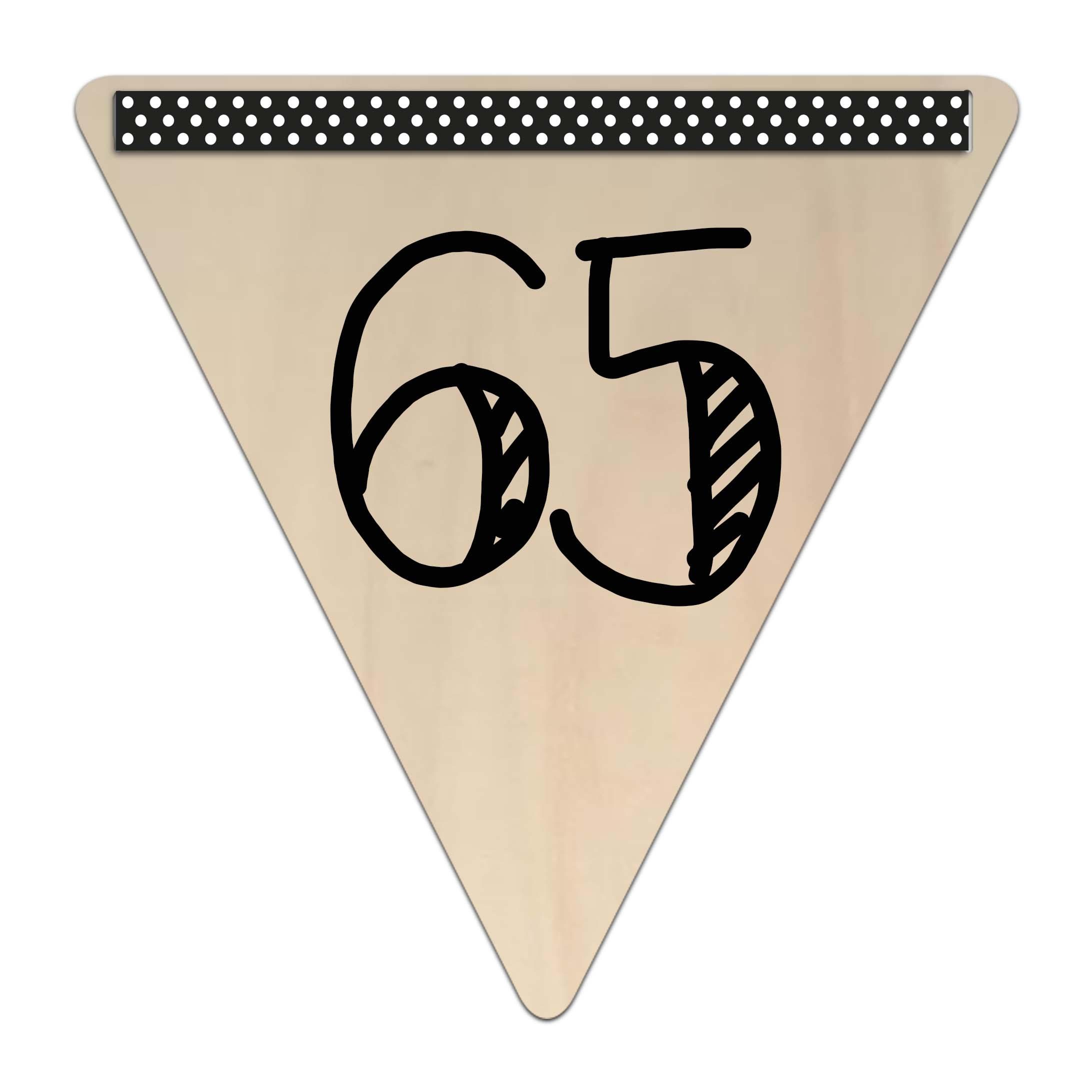 Houten vlaggetje kroonjaar 65