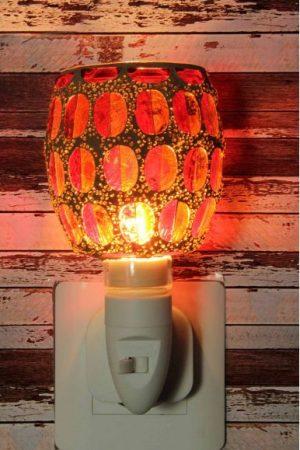 Nachtlampje glas mozaiek oranje/rood - Night Light Collection
