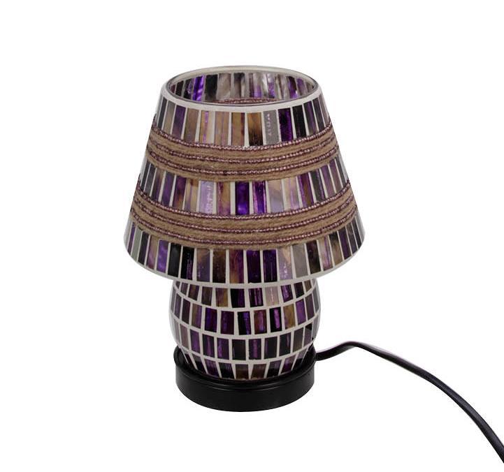 Mozaiek glas lamp (20cm) paars/lila