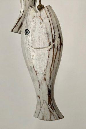 2 houten whitewash vissen aan touw HG-001