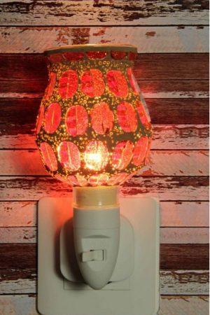 500180 Nachtlampje glas mozaiek oranje/rood (tulpvorm) - Night Light Collection