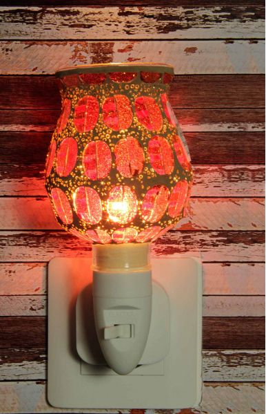 500180 Nachtlampje glas mozaiek oranje/rood (tulpvorm) - Night Light Collection