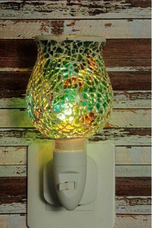 500182 Nachtlampje glas mozaiek groen (tulpvorm) - Night Light Collection
