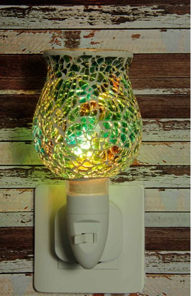 500182 Nachtlampje glas mozaiek groen (tulpvorm) - Night Light Collection