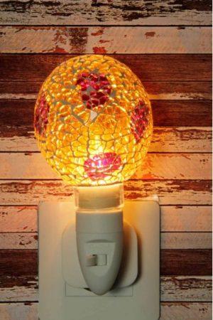 500184 Nachtlampje glas mozaiek geel/rood (bolvorm) - Night Light Collection