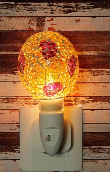 500184 Nachtlampje glas mozaiek geel/rood (bolvorm) - Night Light Collection