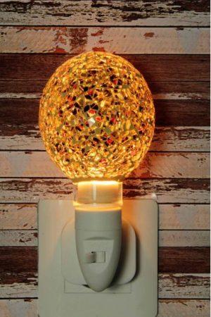 500186 Nachtlampje glas mozaiek goud/rood/zwart (bolvorm) - Night Light Collection