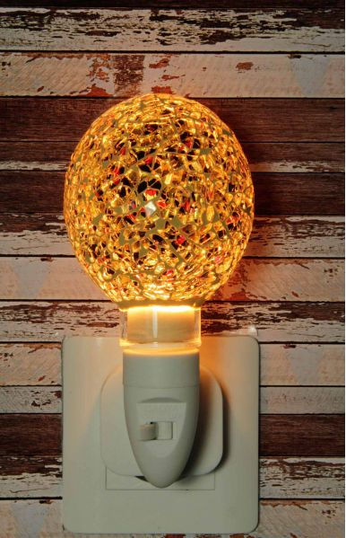 500186 Nachtlampje glas mozaiek goud/rood/zwart (bolvorm) - Night Light Collection