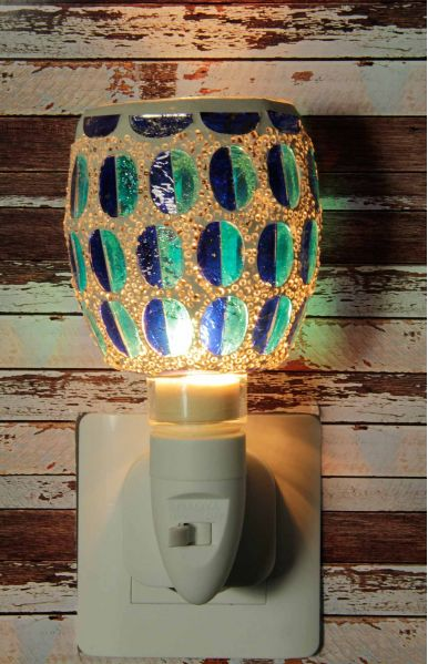 500188 Nachtlampje glas mozaiek blauw - Night Light Collection
