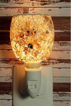 500190 Nachtlampje glas mozaiek wit/bruin - Night Light Collection