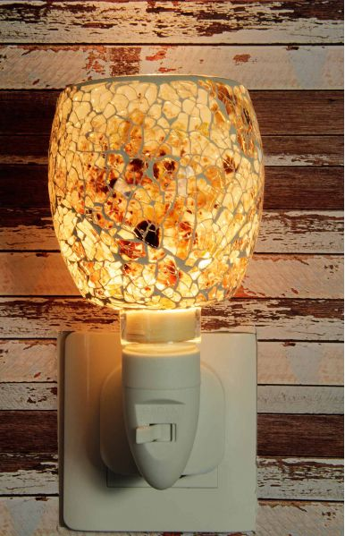 500190 Nachtlampje glas mozaiek wit/bruin - Night Light Collection