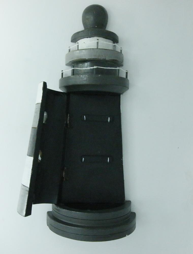 Houten vuurtoren sleutelkastje - grijs/wit