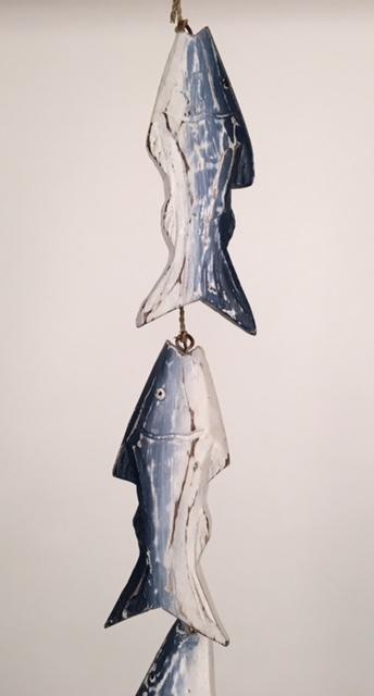 Vissen aan touw - blauw/wit