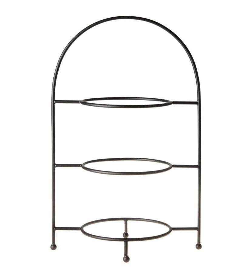 Mooi en stevig bordenrek van metaal in 3 lagen dat geschikt is voor borden tussen de 18 en 27 cm doorsnede. Afmeting:29x19x46 cm