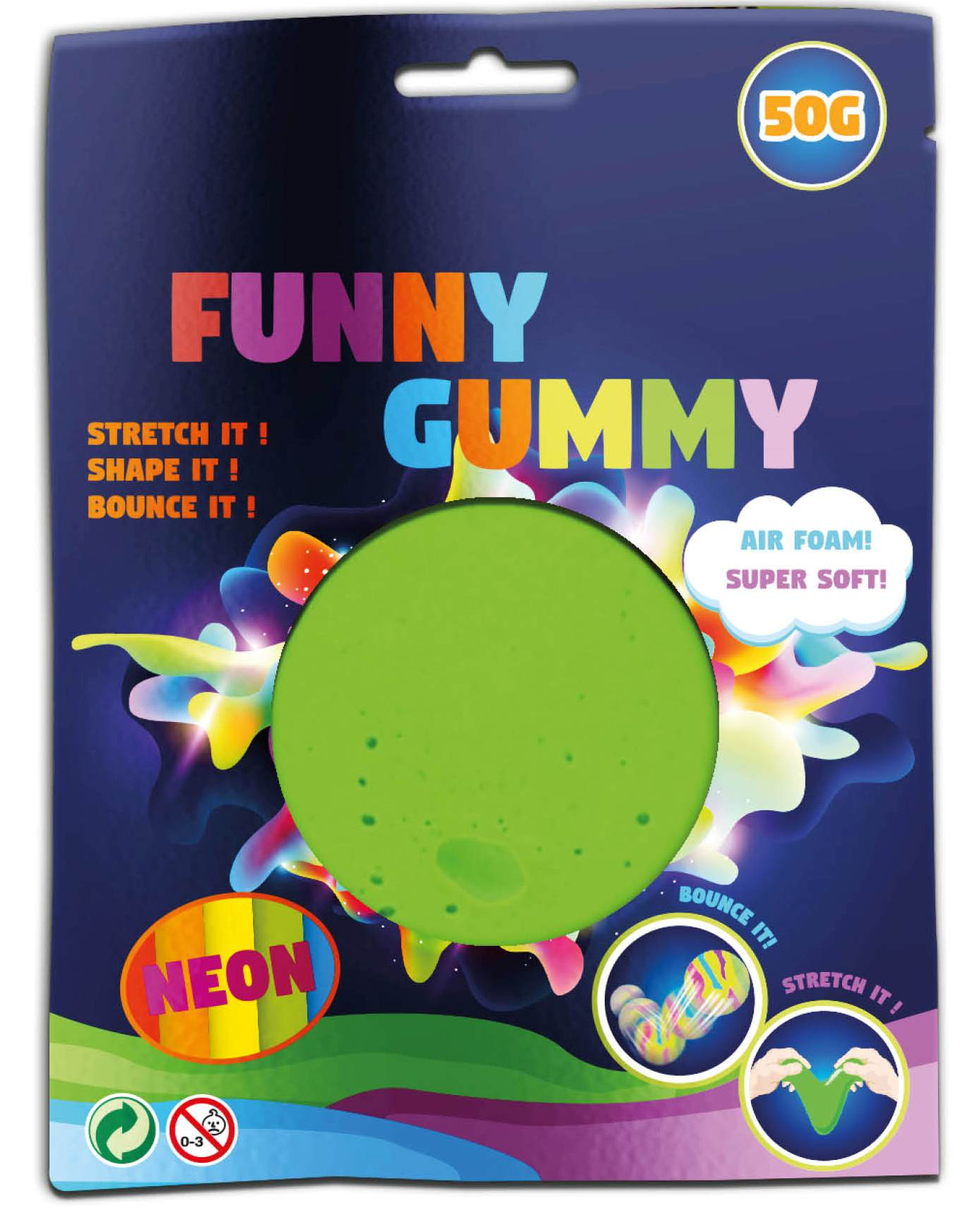 Funny Gummy Bouncing Airfoam putty - diverse kleuren