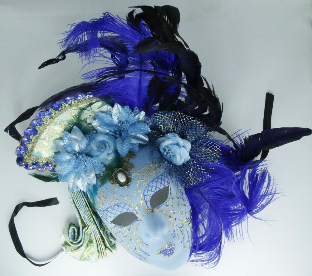 Venetiaans masker, luxe afgewerkt met glitter en veren - blauw
