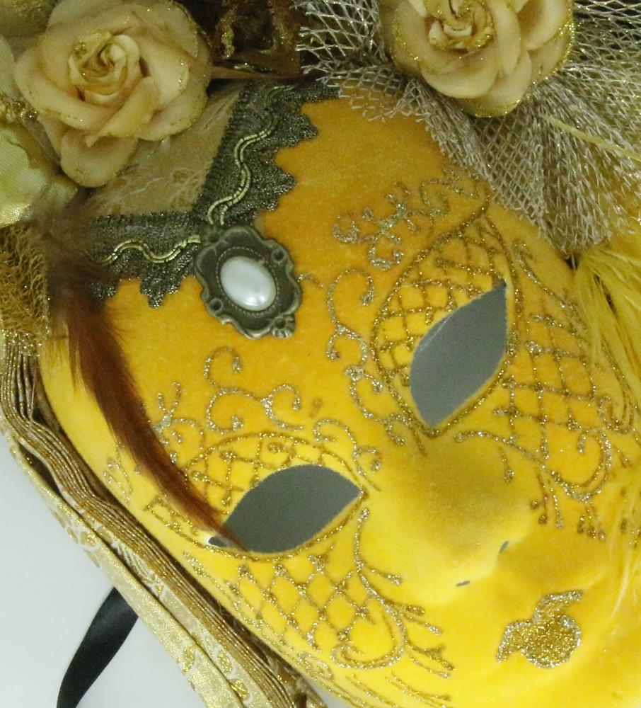 Venetiaans masker, luxe afgewerkt met glitter en veren - geel