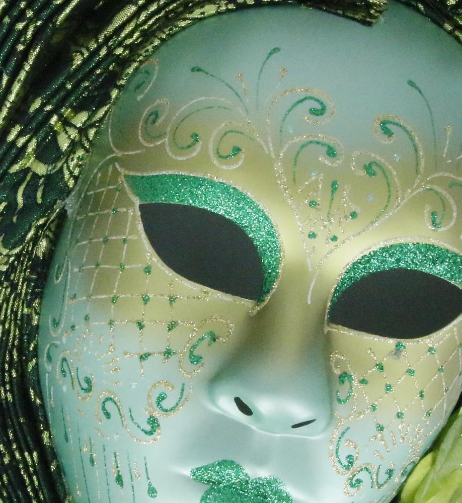 Venetiaans masker, luxe afgewerkt met glitter en bloemen - groen