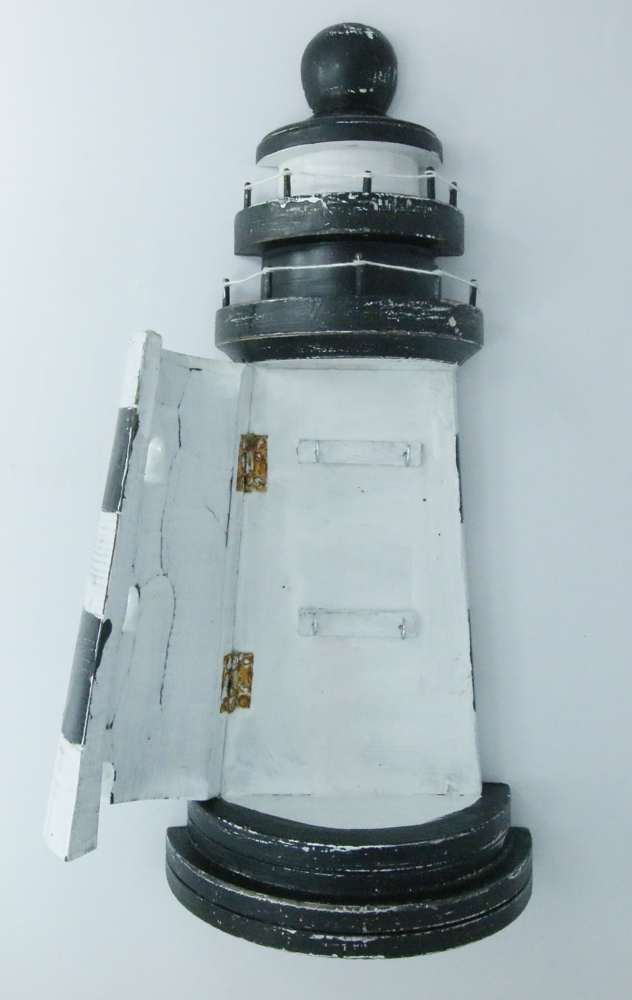 Houten vuurtoren sleutelkastje - zwart/wit