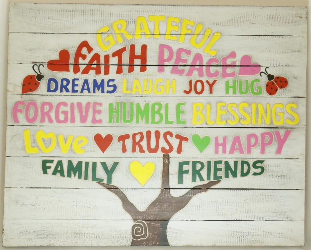 Houten tekstbord levensboom - tree of life (whitewash)