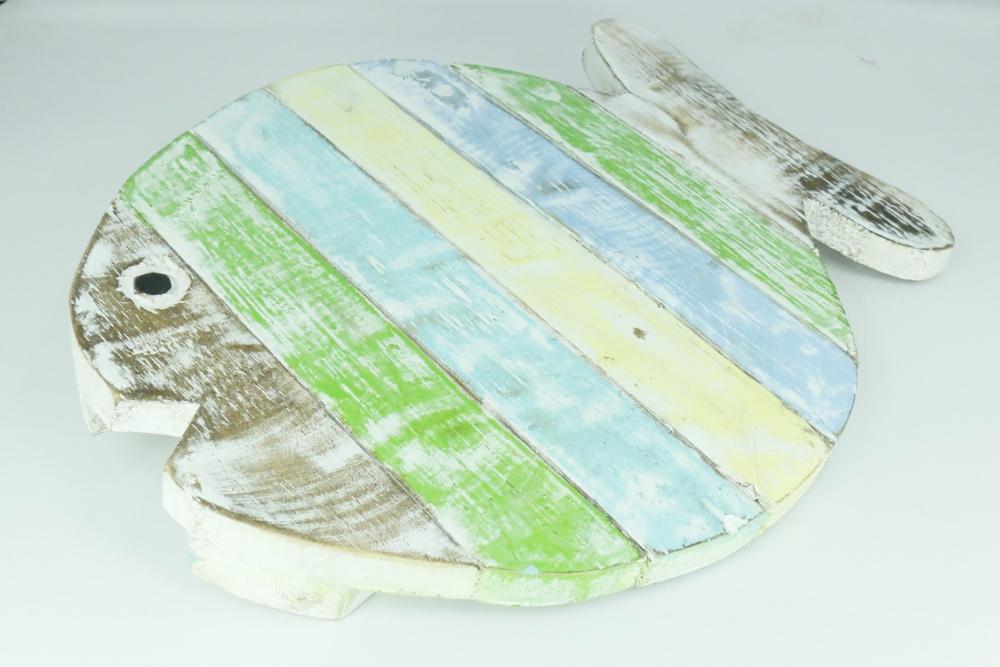 houten vis pan onderzetter handwerk indonesië