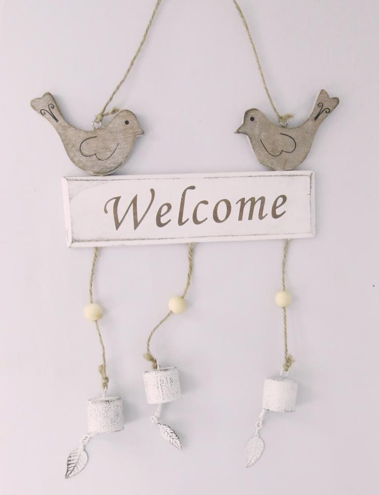 Tekstbord hout vogeltjes en belletjes 'Welcome'