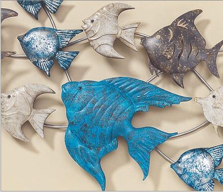 Metalen school tropische vissen wanddecoratie