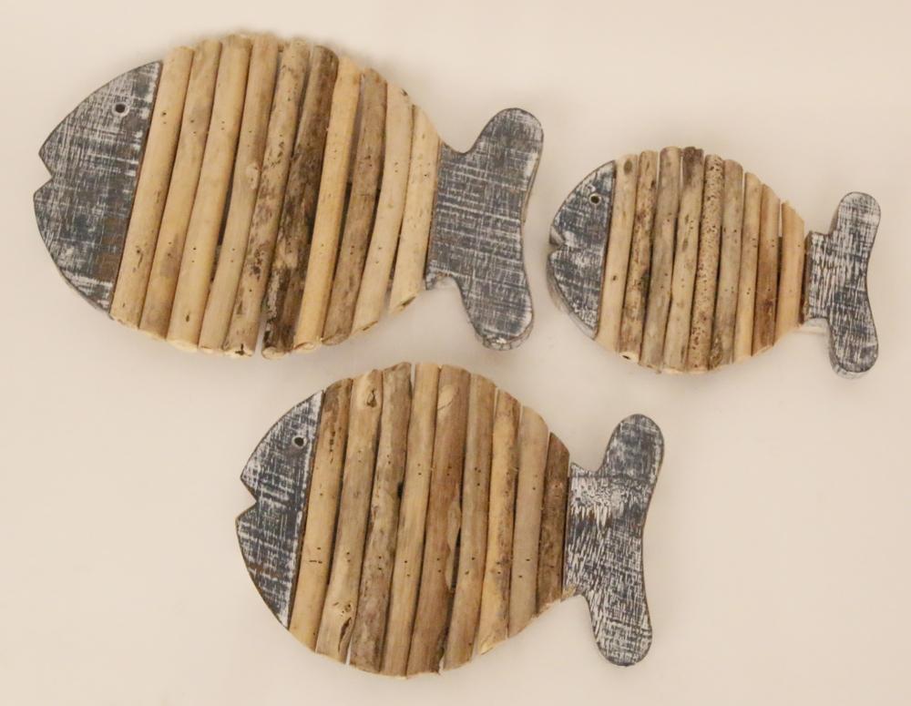 Houten vis pannen onderzetter met drijfhout (bluewash)
