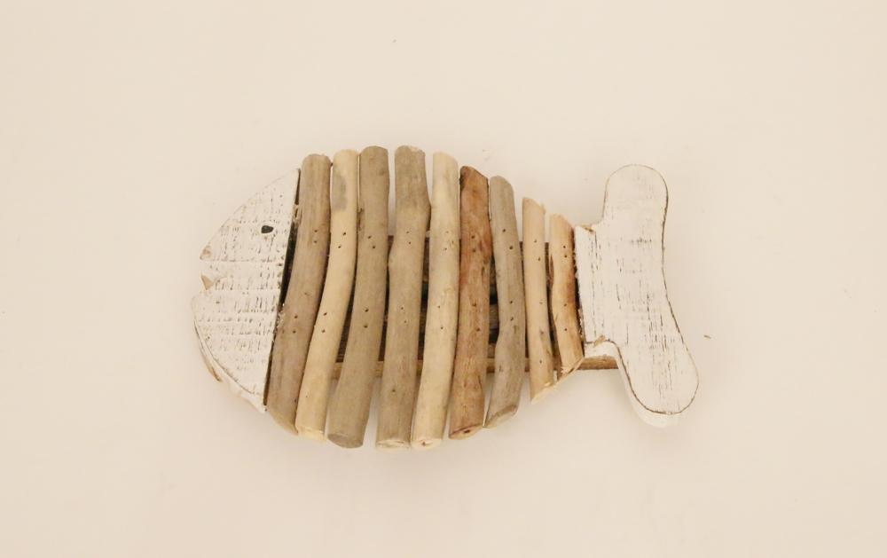 Houten vis pannen onderzetter met drijfhout (whitewash) 15cm