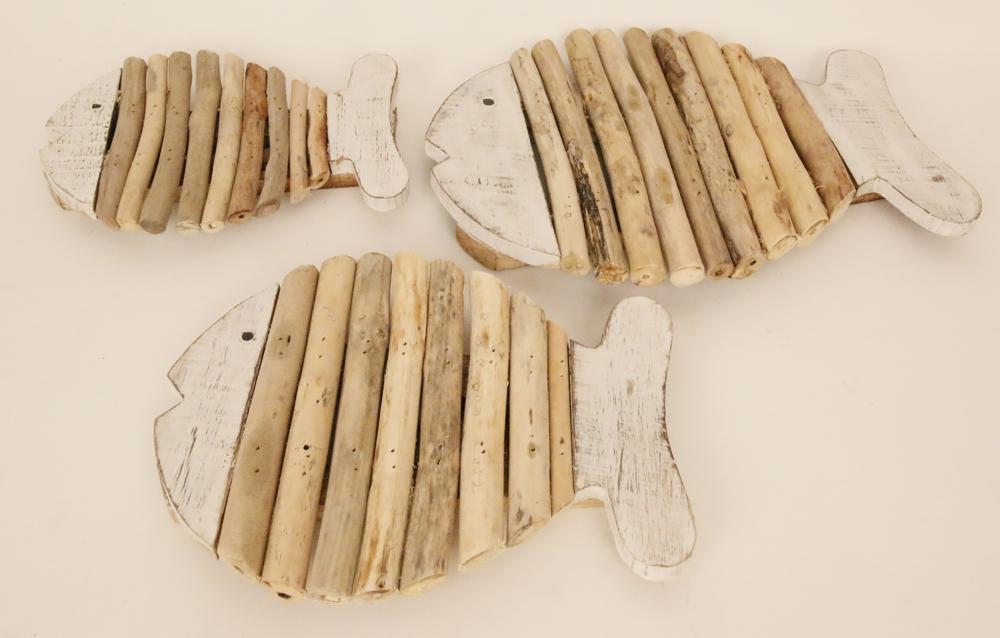 Houten vis pannen onderzetter met drijfhout (whitewash)