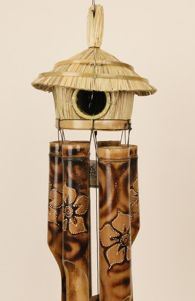 Bamboe windgong vogelhuisje met naturel bloemen 50cm