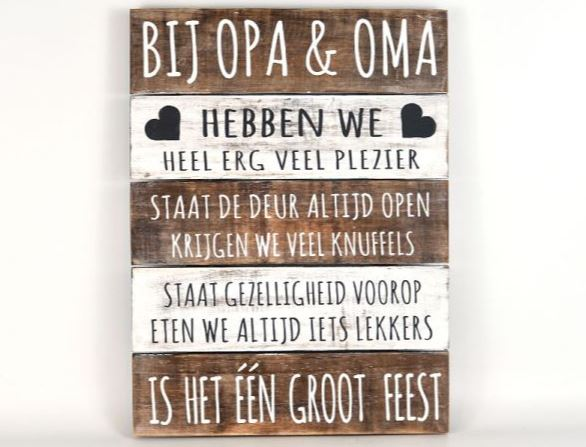Tekstbord bij opa en oma naturel/Antique white 40x30cm