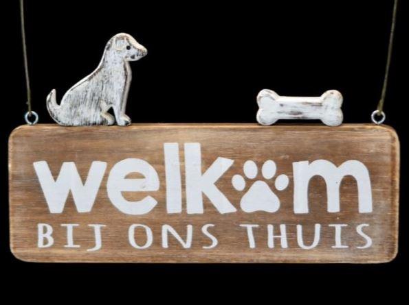 Houten bordje hond 15x25cm welkom naturel/Antique white