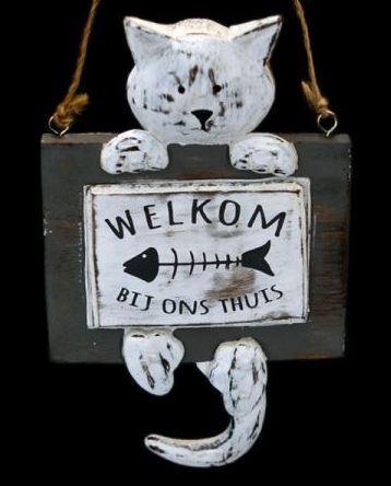 Houten bordje kat 20x12cm welkom antique white