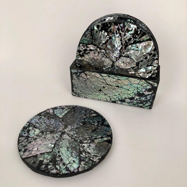 Abalone houten ronde onderzetters met houder