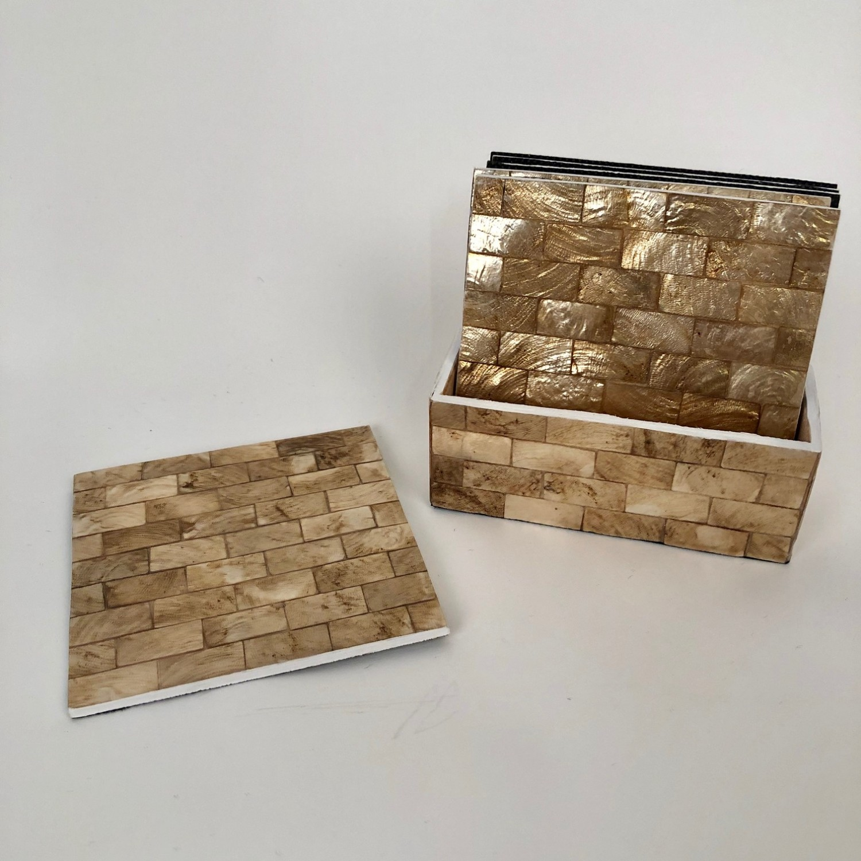 Capiz vierkante houten onderzetters