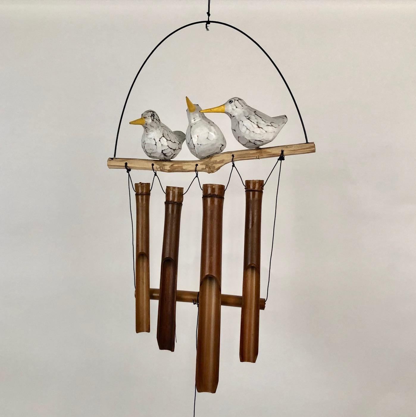 Bamboe windgong 3 vogels op stok 52411