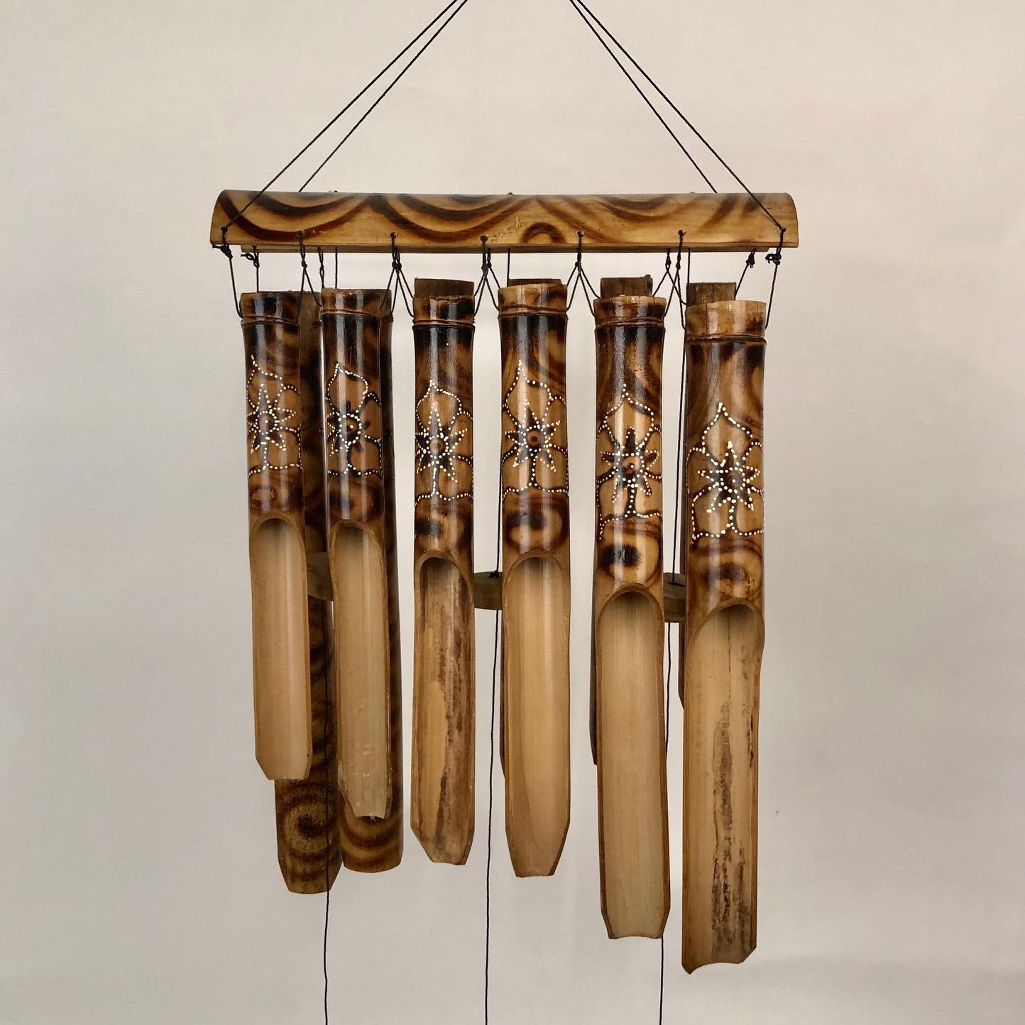 Bamboe windgong bloem/zwart/naturel 51355
