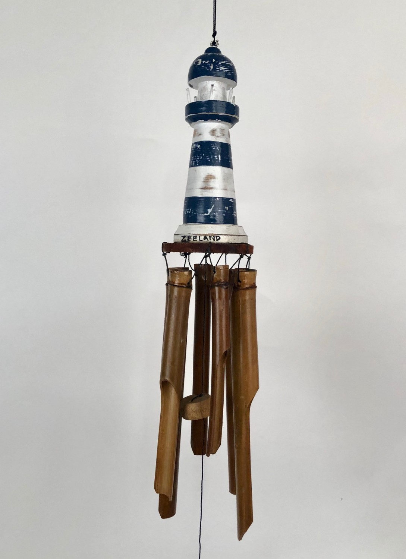 Vuurtoren blauw/wit bamboe windgong 52408