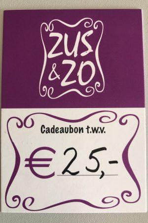 Cadeaubon Zus & Zo 25,- euro