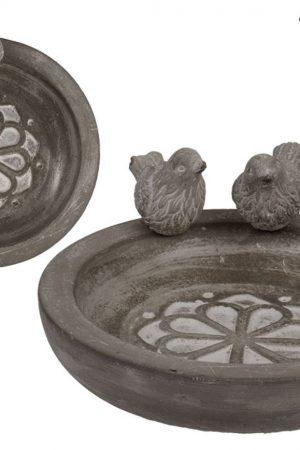 Vogelbad rond grijs cement ± 20,5x4cm